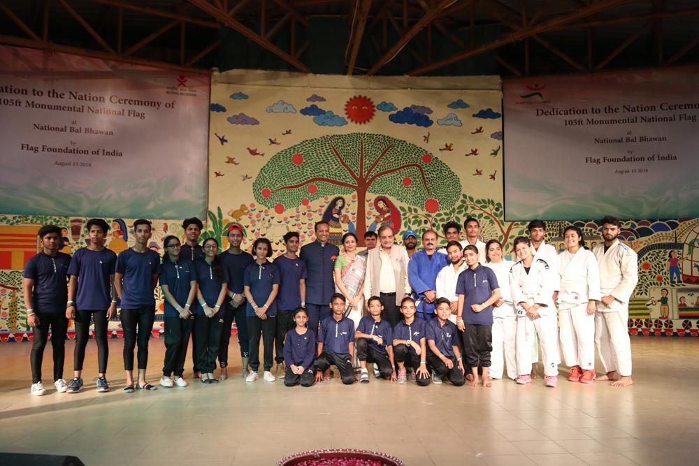 Sports Students at NBB at NBB Flag Installation