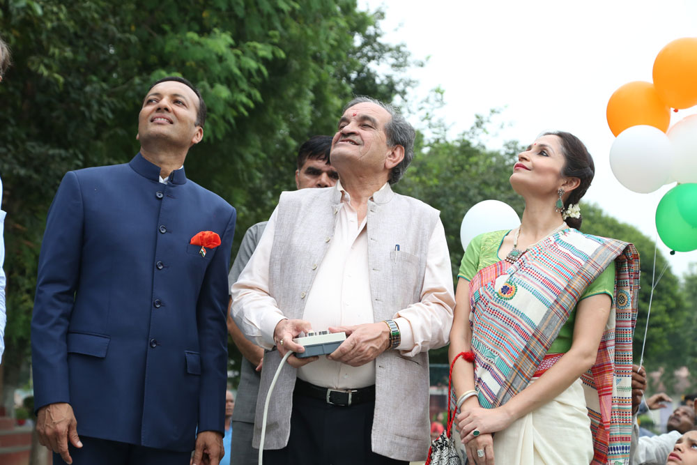 At The Hoisting Ceremony of 105 ft Monumental National Flag at NBB ` All Eyes Towards The Sky` as the Tiranga rises High
