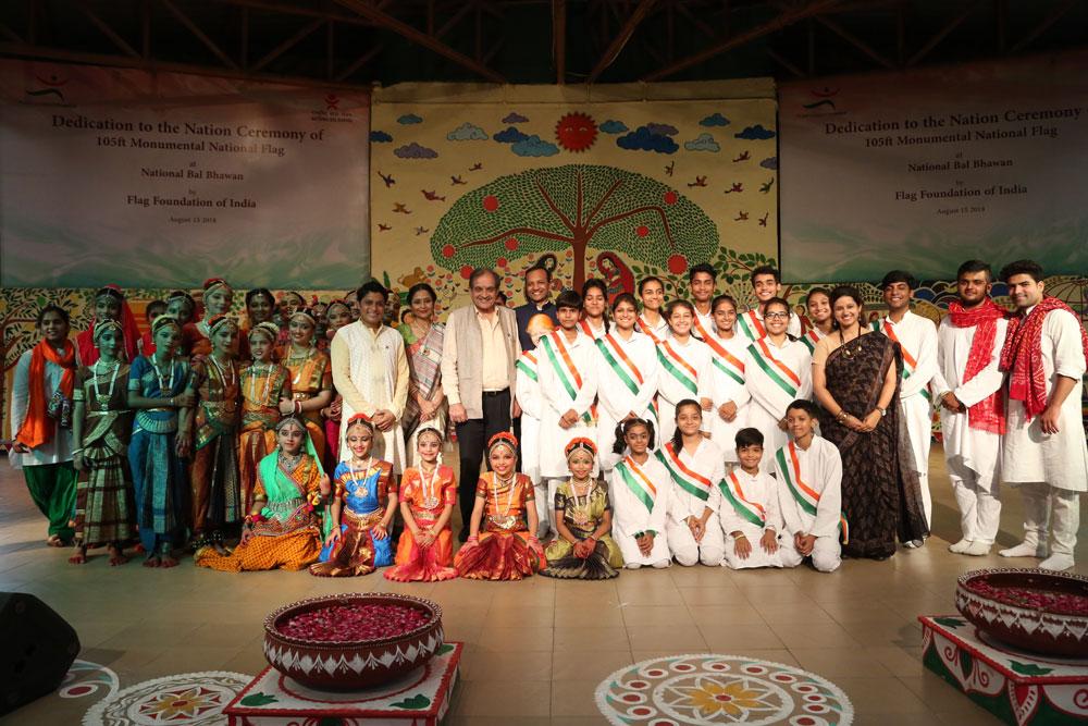 Union Minister Shri Birender Singh Children and Staff of NBB At National Flag Installation Ceremony